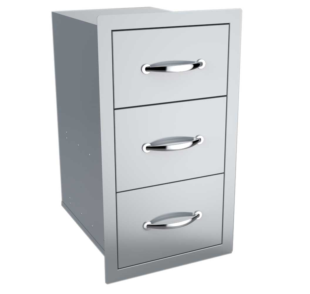"""Triple Access Drawer 19"""" by 26"""" BBQ Drawer Stainless Steel Storage Flush Style"""