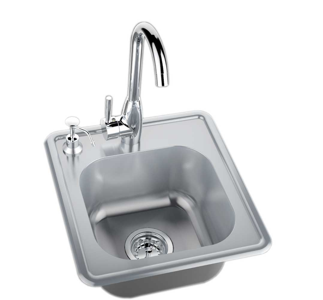 Sink w cold hot water faucet item no a ss17